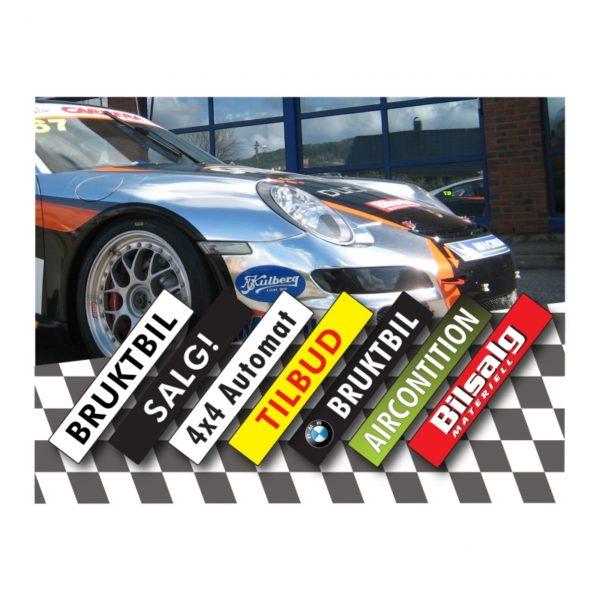 Promo-Plate reklamebilskilt av PVC 520 x 110mm.